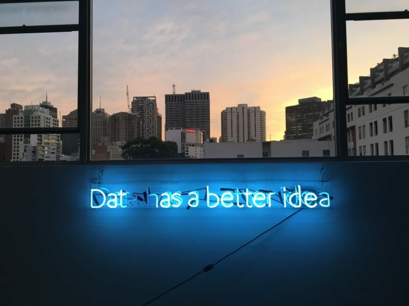 Data analytics neon sign